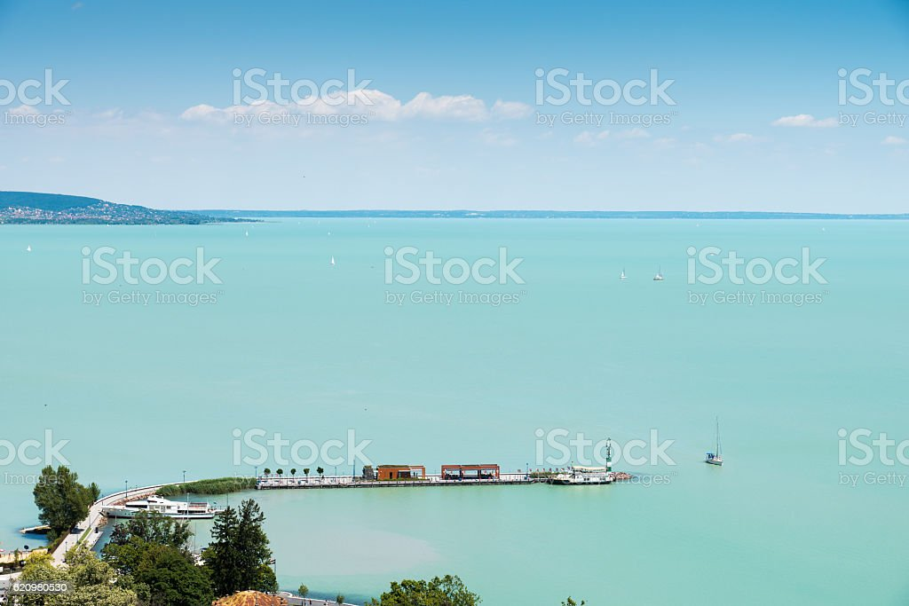 View of Balaton lake, Hungary, Tihany foto royalty-free