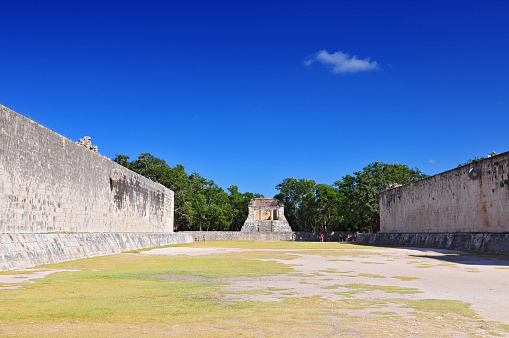 View of ball game court (juego de pelota) at Chichen Itza, Yucatan, Mexico.