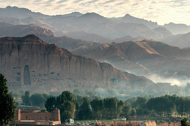 view of bamiyan valley - afghanistan valley, landscape, buddhist, afghan, afghanistan, buddha, bamiyan Afghanistan stock pictures, royalty-free photos & images
