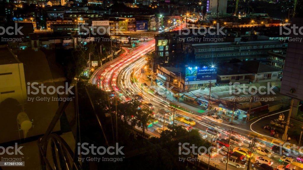Bangkok, Thailand - November 2, 2017 : View Of Bangkok, The Capital Of Thailand At Night, Thailand At Nighttime When The Tall Skyscrapers Are Illuminated stock photo
