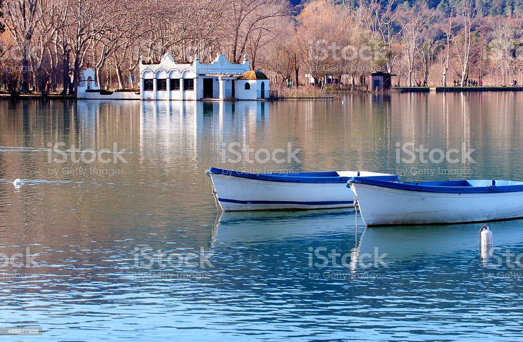 View of Banyoles lake.Catalonia.Spain stock photo