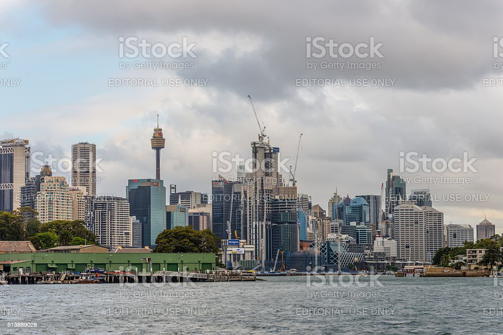 View of Barangaroo, New South Wales on a cloudy day stock photo