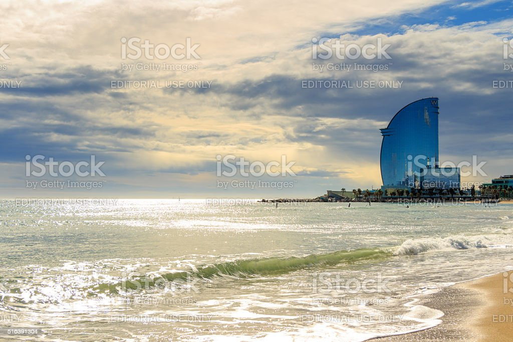 View of Barceloneta Beach and W hotel in Barcelona, Spain stock photo