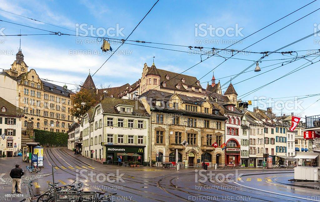 View of Barfusserplatz in Basel, Switzerland stock photo