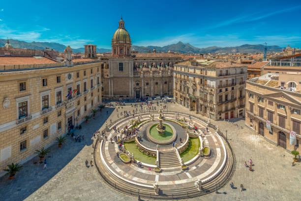 View of baroque Piazza Pretoria and the Praetorian Fountain in Palermo, Sicily, Italy. stock photo