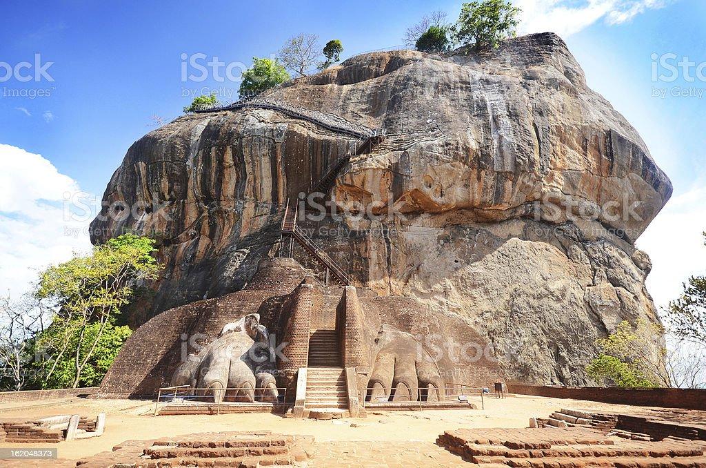 View of base of Sigiriya rock fortress in Sri Lanka stock photo