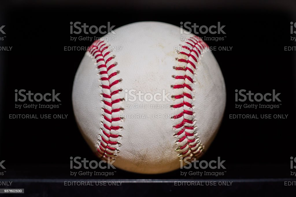 View of baseball with black background stock photo