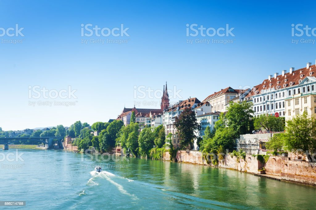 View of Basel from Rhine river in Switzerland stock photo