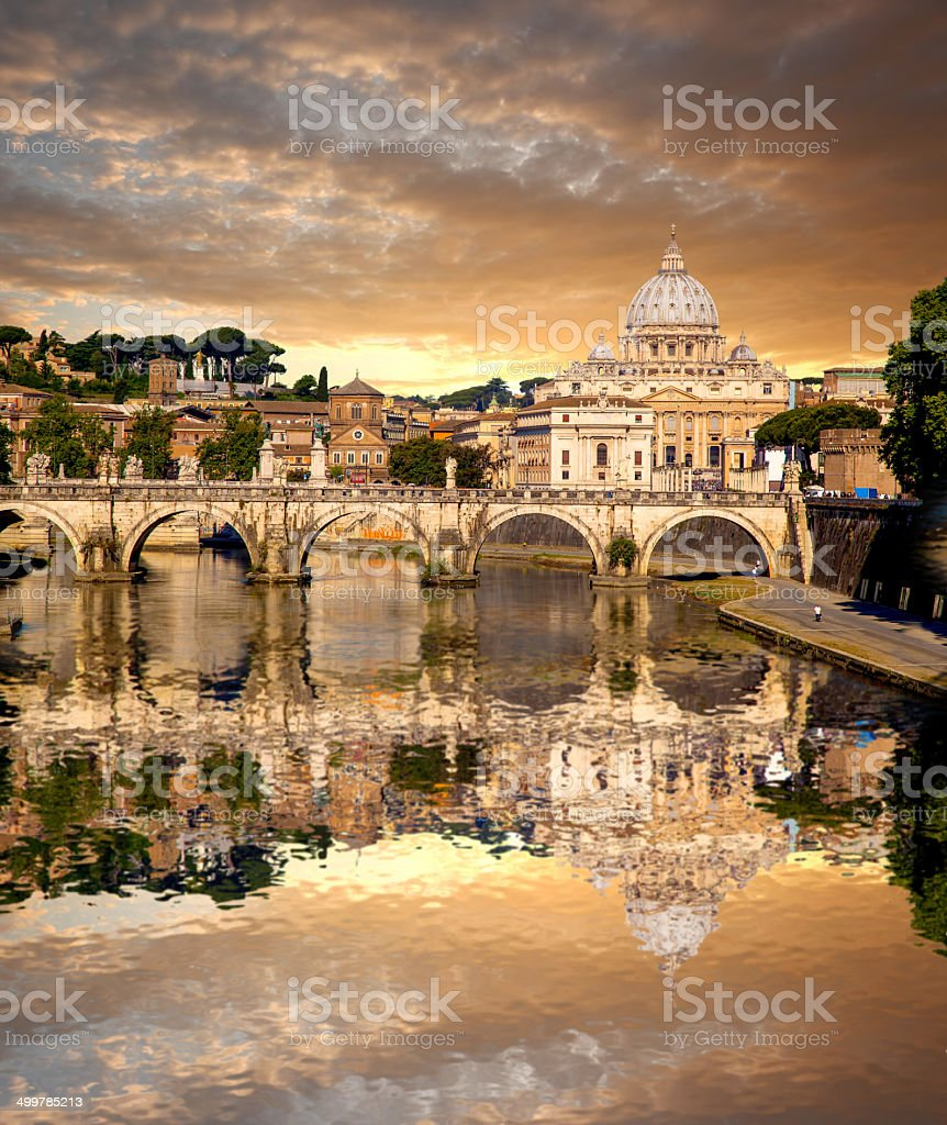 View of Basilica di San Pietro in Vatican, Rome, Italy stock photo
