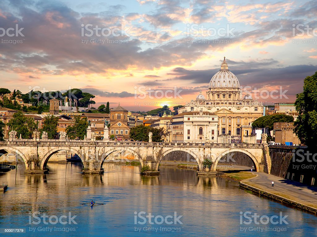View of Basilica di San Pietro in Vatican, Rome, Italy stock photo