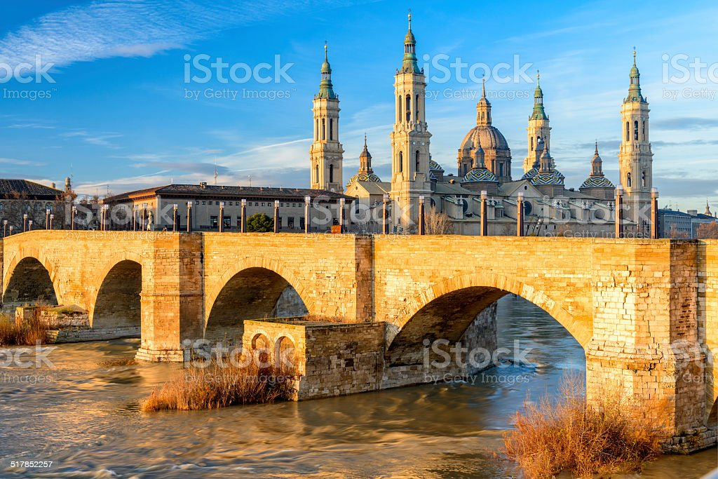 View of Basilica Pillar in Zaragoza , Spain. stock photo