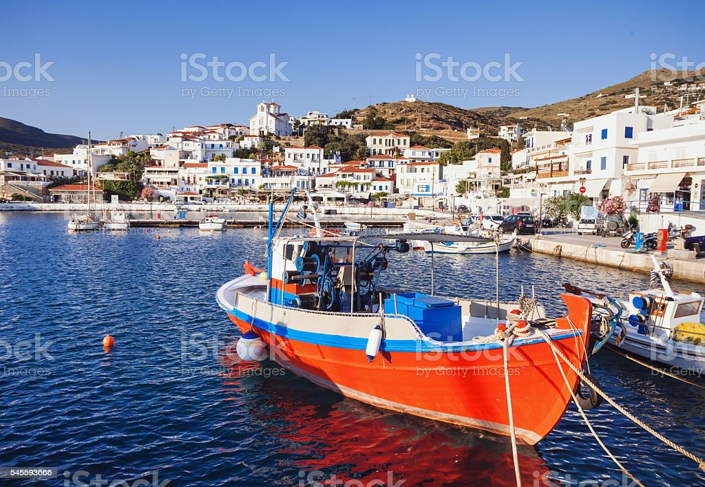 View of Batsi town, Andros island, Greece stock photo