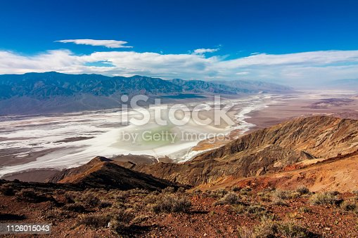 Death Valley National Park, California - November 2015 - Dante's View is the primary overlook in Death Valley National Park because it offers premier panoramic views. Below Dante's View is Badwater Basin, the lowest point in North America. Death Valley National Park is an American national park that straddles the California—Nevada border, east of the Sierra Nevada.