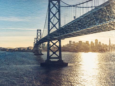 view of Bay bridge and san francsico city skyline from Yerba Buena Island,California,USA.