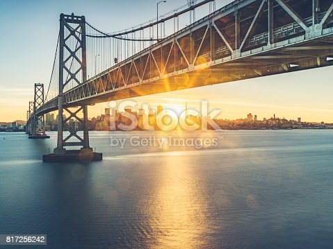 view of Bay bridge and san francsico city skyline from Yerba Buena Island,California,USA.