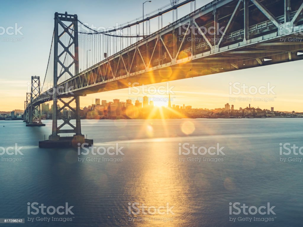 view of Bay bridge and san francsico city skyline from Yerba Buena Island stock photo