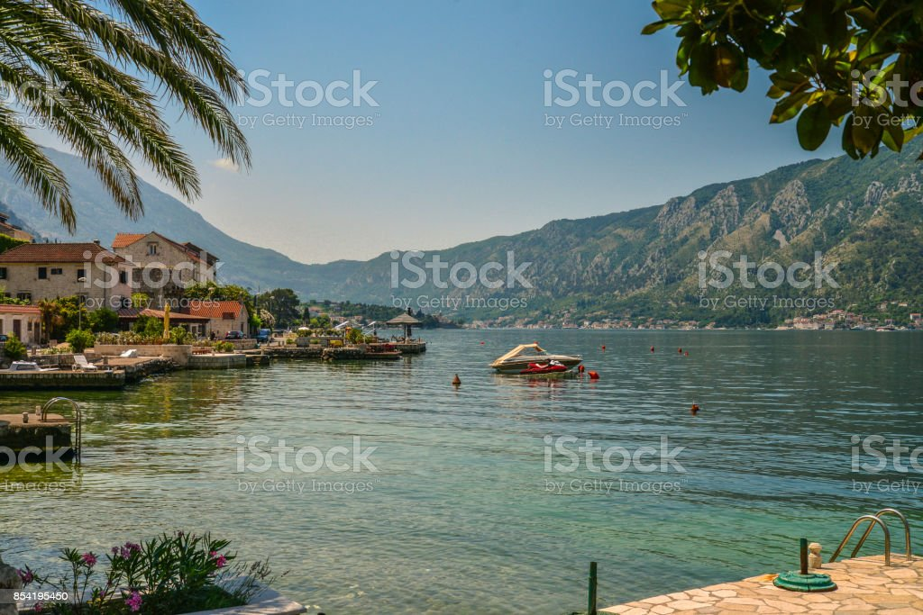 View of Bay of Kotor stock photo