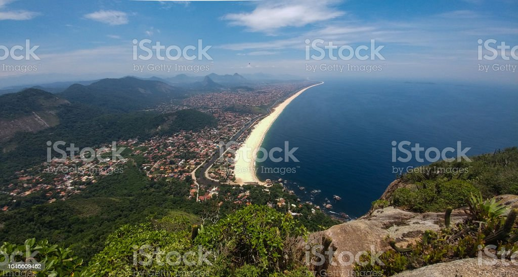 View of beach and beautiful coastline stock photo