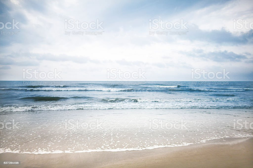 View of beach and clouds stock photo