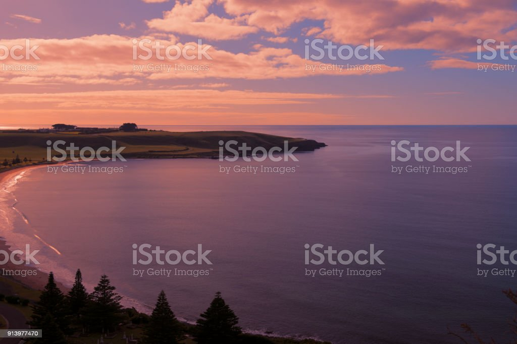 View of beach and ocean at Stanley, Tasmania. stock photo