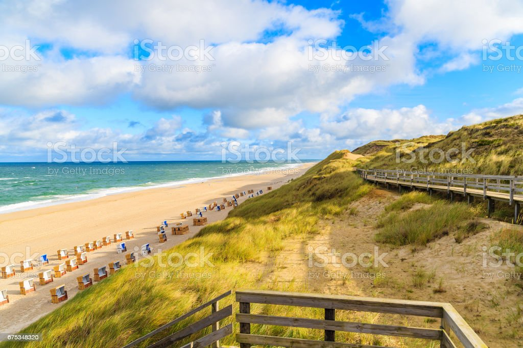 View of beach and sand dunes in Wenningstedt village on Sylt island, Germany stock photo