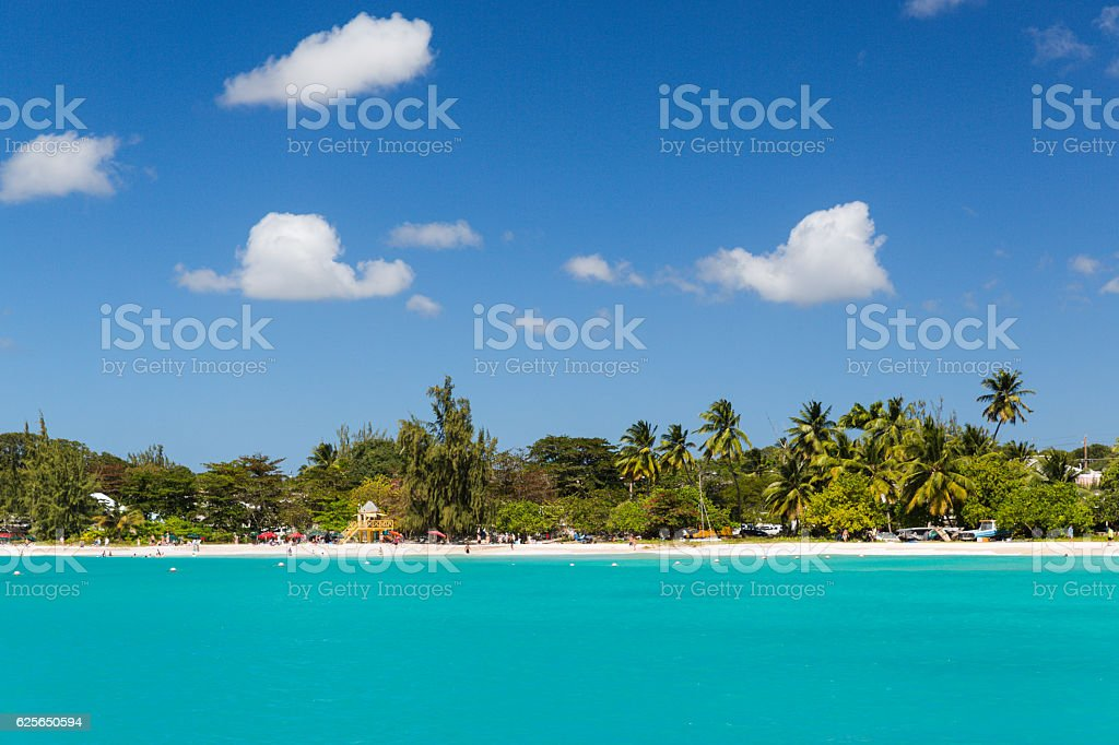 View of Beach from a Catamaran in Carlisle Bay Barbados stock photo