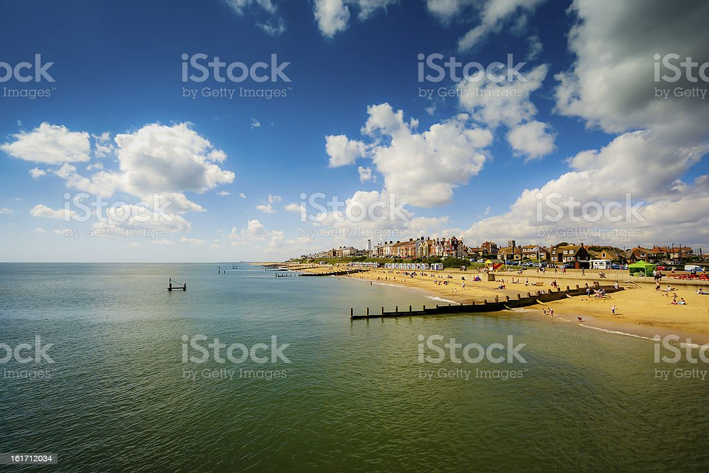 View of beach from Pier at Southwold in Suffolk stock photo