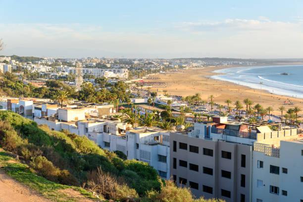 Vista de playa en la ciudad de Agadir, Marruecos - foto de stock