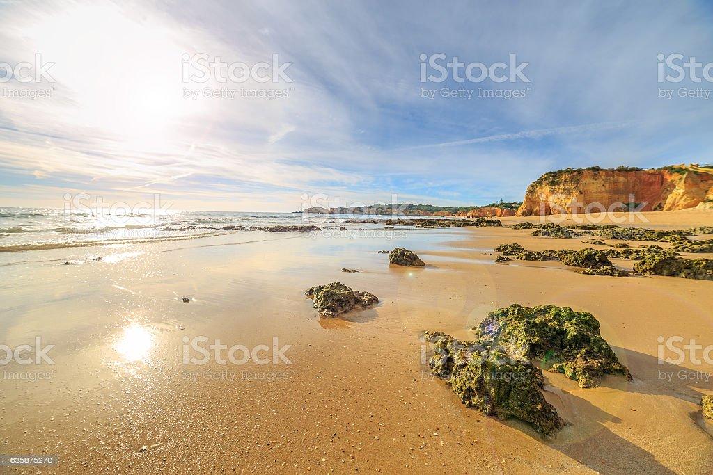 View of beach in Algarve region, Portugal stock photo