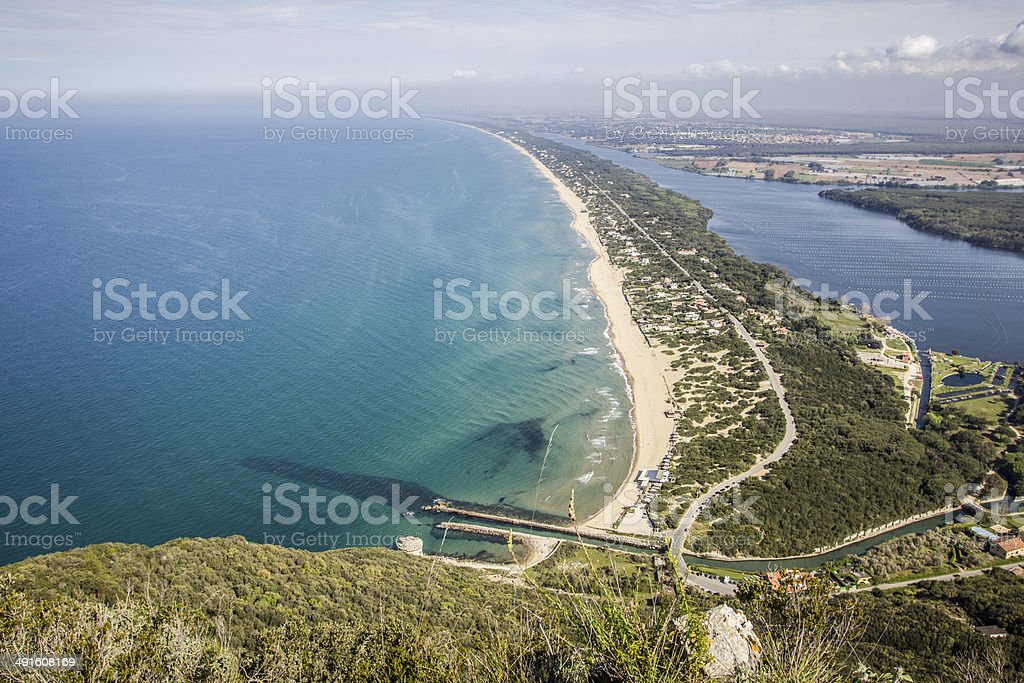 View of beach, lake and clear sea from Mount Circeo stock photo