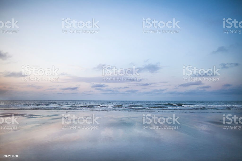 View of beach sunrise stock photo