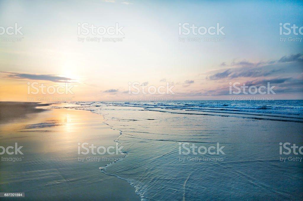 View of beach sunrise stock photo