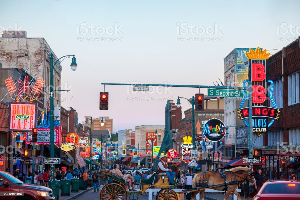 View of Beale Street, Memphis, TN stock photo