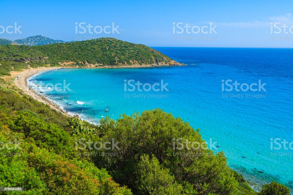 View of beautiful beach and bay on coast of Sardinia island bear Porto Sa Ruxi, Sardinia island, Italy stock photo