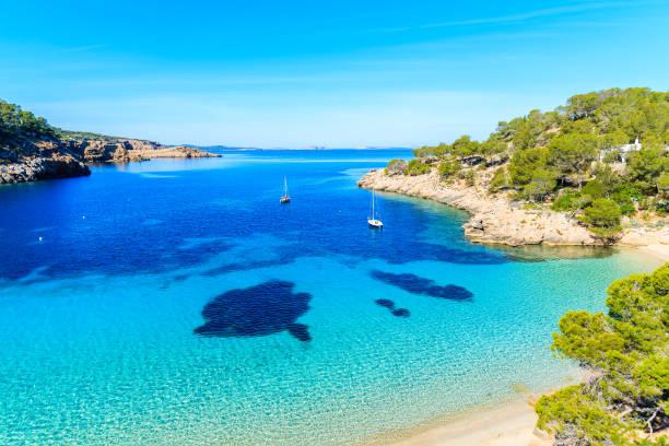 Vue de la belle plage dans la baie de Cala Salada célèbre pour son eau de mer cristalline d'Azur, l'île de Ibiza, Espagne - Photo