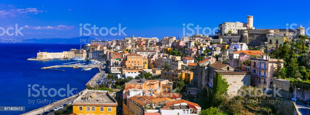 View of beautiful coastal town Gaeta. Landmarks of Italy, Lazio region stock photo