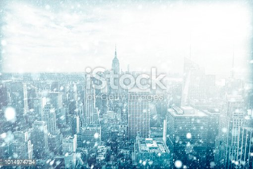 View of beautiful New york skyline with snow, USA