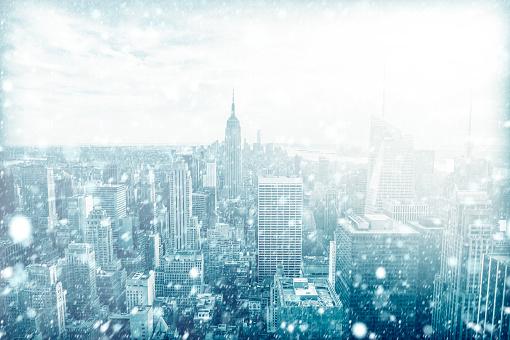 View of beautiful New york skyline with snow, USA