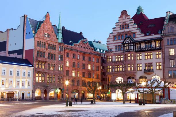 view of beautiful night scene in malmo - malmö bildbanksfoton och bilder