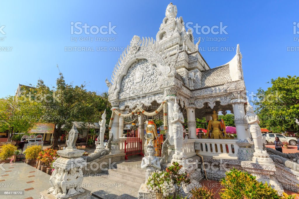 A view of Beautiful Traditional Thai style art of stucco in The City Pillar Shrine . Located in Nan province northern of Thailand. stock photo