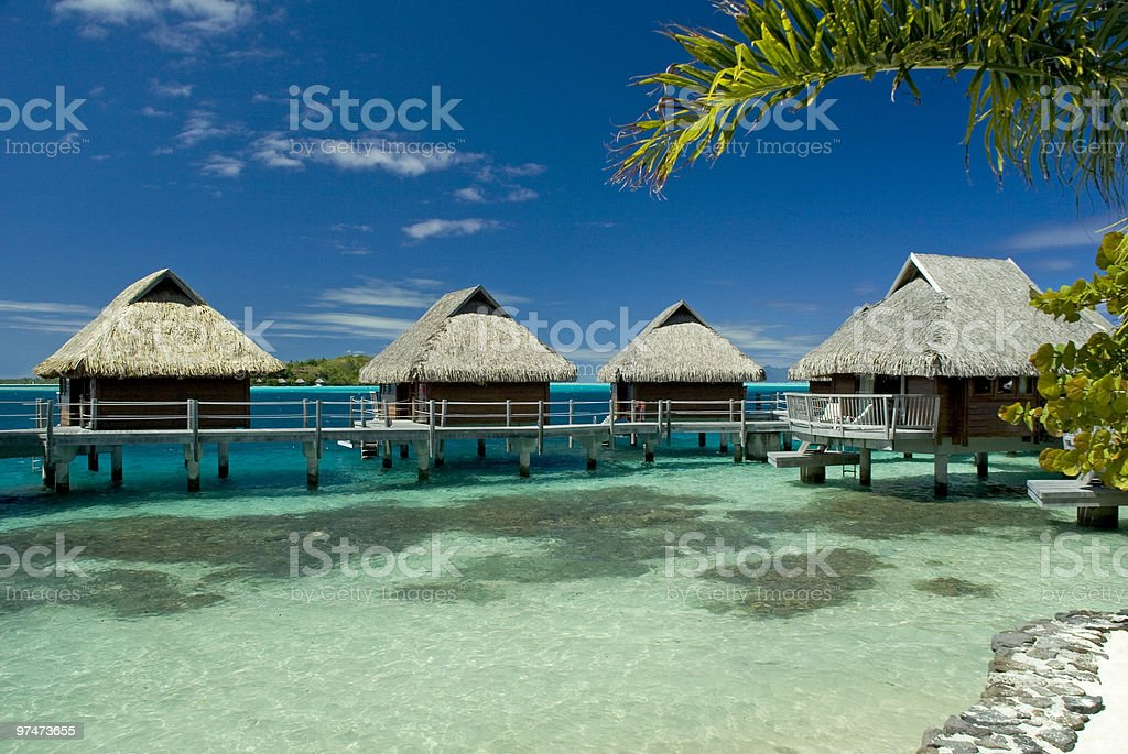 View of beautiful tropical paradise with blue sky stock photo