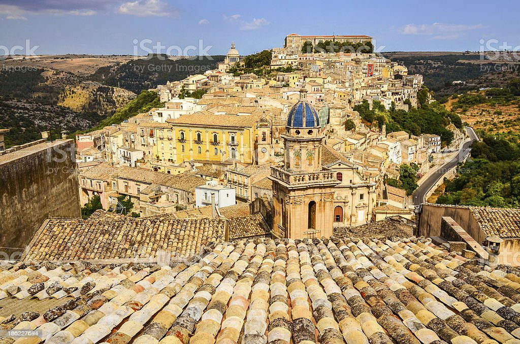 View of beautiful village Ragusa Ibla in Sicily, Italy stock photo