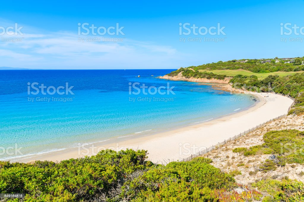 View of beautiful white sand beach Grande Sperone with azure sea water, Corsica island, France stock photo