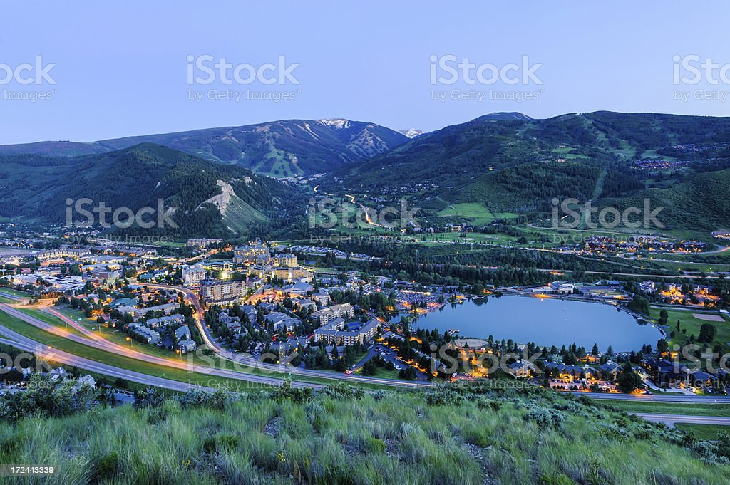 View of Beaver Creek in Summer at Dusk stock photo