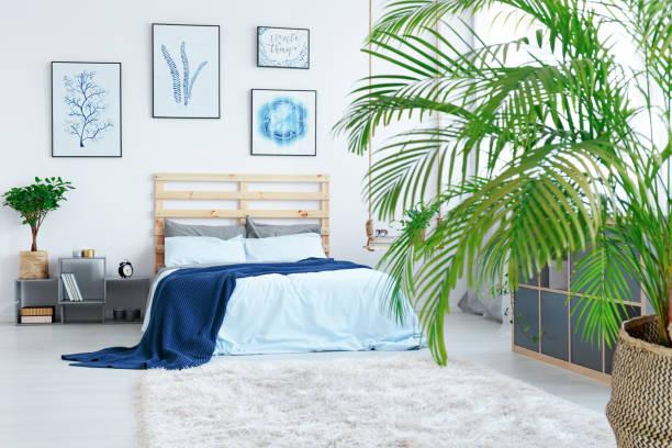 ansicht des schlafzimmers - paletten kopfbrett stock-fotos und bilder