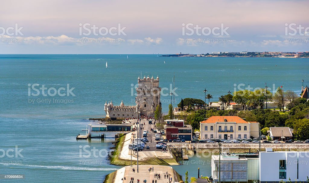 View of Belem tower in Lisbon - Portugal stock photo