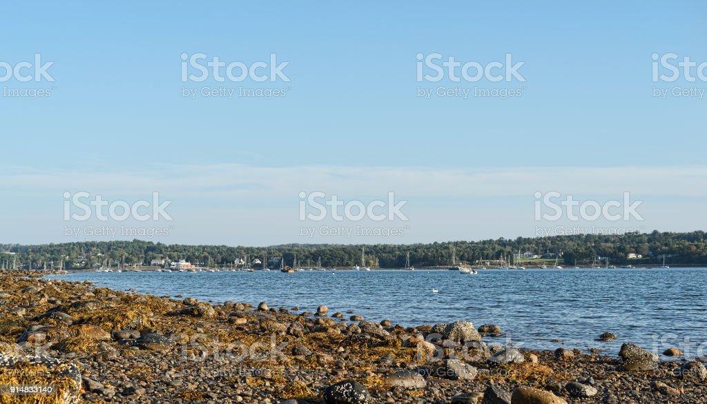View of Belfast Harbor in Maine stock photo