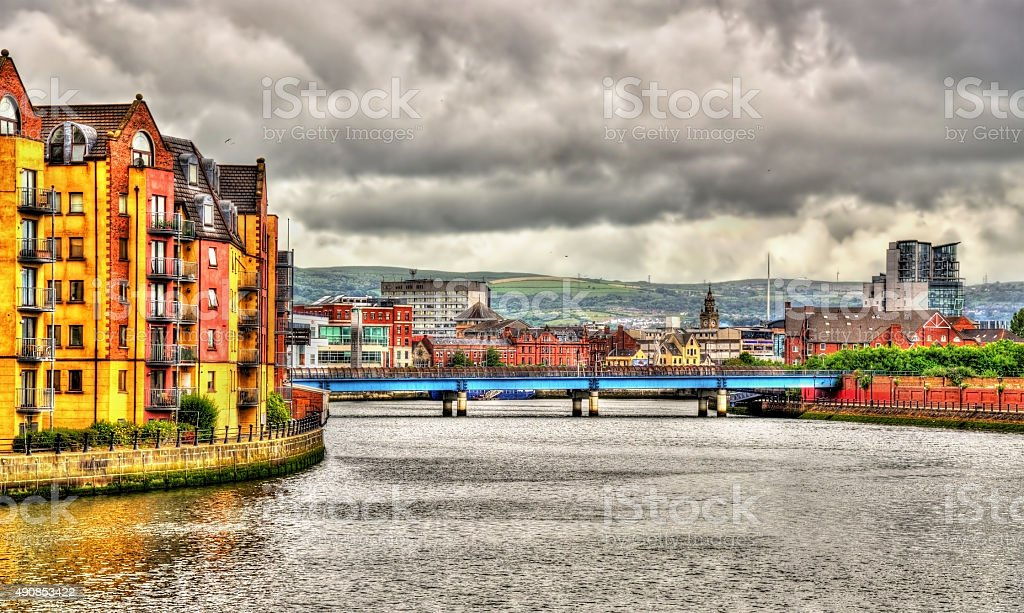 View of Belfast over the river Lagan - United Kingdom stock photo