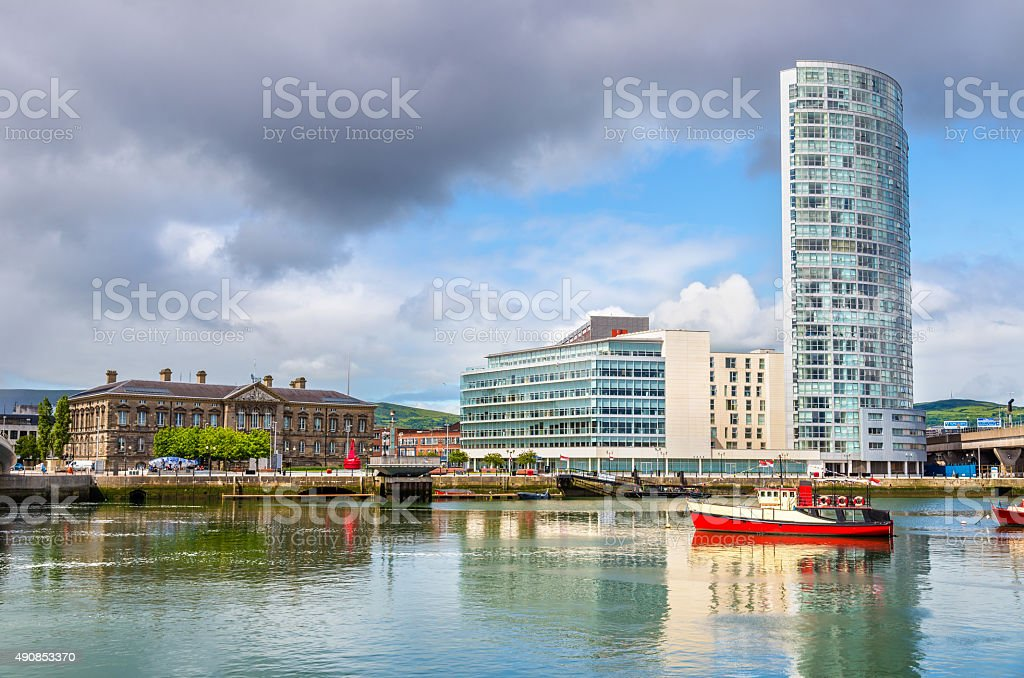 View of Belfast with the river Lagan - United Kingdom stock photo