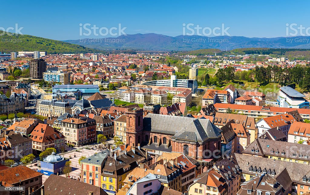 View of Belfort from the citadel - France stock photo